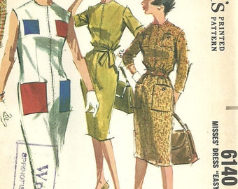 Vintage 60s Sewing Pattern /  McCalls 6140 / Dress / Size 14 Bust 34