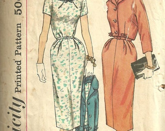 Vintage 50s Sewing Pattern / Simplicity 2465 / Dress / Half Size 16.5 Bust 37