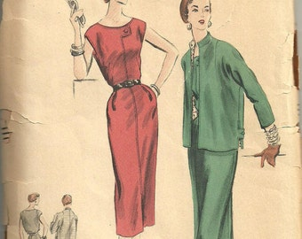 Vintage Vogue Fifties Sewing Pattern Vogue 7864 // Dress And Jacket Size 16 Bust 34