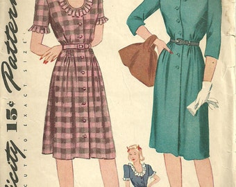 Vintage 40s Sewing Pattern / Simplicity 4948 / Dress / Size 13