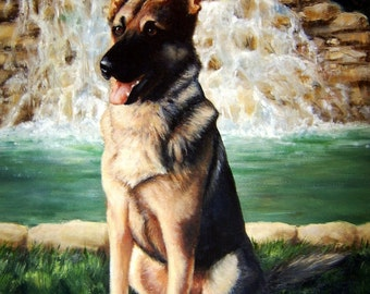 Custom German Shepherd Dog Pet Portrait Oil Painting by Jody Ball Art