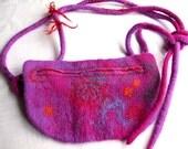 Felted Hip Bag  pink violet and orange