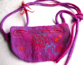 Felted Hip Bag - pink violet and orange