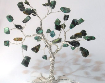 african turquoise gemstone wire tree whimsical green tree of life wire tree sculpture home minimalistic decoration hostess gift under 25