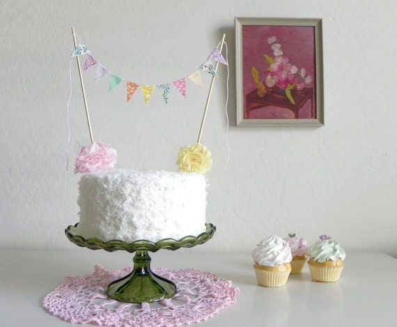 Fuschia Blush Fabric Bunting Cake Topper Decoration / Vintage Circus Style / As Seen on HGTV Blog