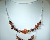 Orangine necklace - Fine jewelry - Sterling silver (.925) and genuine stones