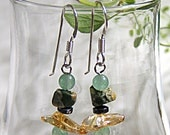 citrine and jasper earrings - sterling silver (.925) and genuine stones