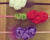 Headband Fabric Flowers Tutorial Roses Pattern -  PDF  - boho hair accessory  - floral crown red roses - INSTANT download
