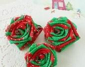 Christmas Ornament  Ribbon Flowers Tutorial Classic Rose Pattern -  fabric & ribbon Instructions - 2 colors ribbon too - PDF
