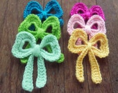 Bow Crochet Applique Pattern PDF - baby, girl, teen, or woman accessories - Instant DOWNLOAD