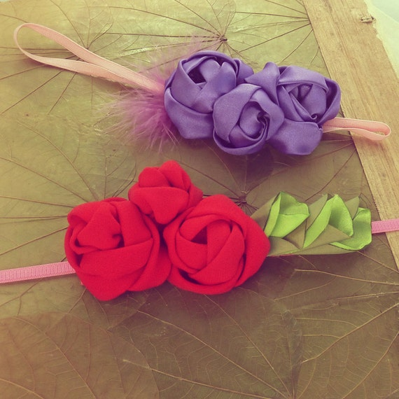Fabric Flowers Tutorial Roses Headband Pattern -  PDF  - how to - ebook - DIY - easy - beginner