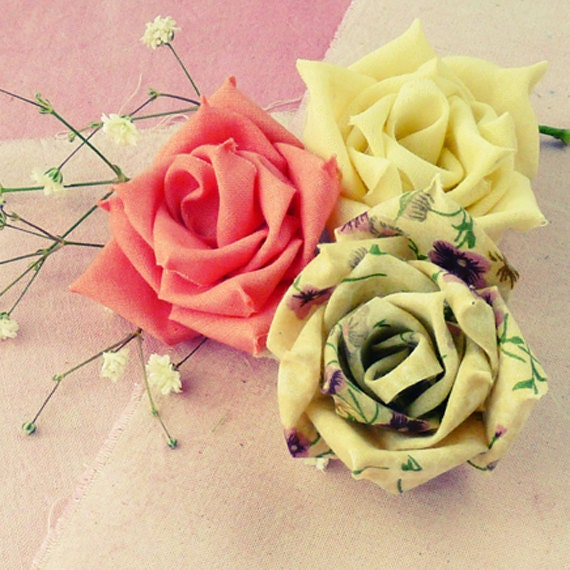 Our Little Life...: Fabric Flower Tutorial   Fabric Hair Flowers Tutorial