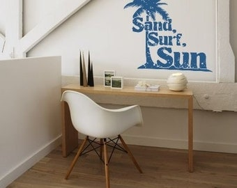 Palm Tree Wall Decal, Beach Wall Decor, Sand Surf Sun Decal, Tropical Wall Decor, Tree Wall Decal, Coastal Decor, Modern Dorm Decor