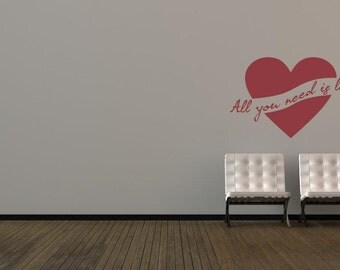 Heart Wall Decal, Wedding Decor, Valentines Day Decor, Love Wall Decal, All You Need Is Love, Quote Wall Decals, Typography Wall Decor