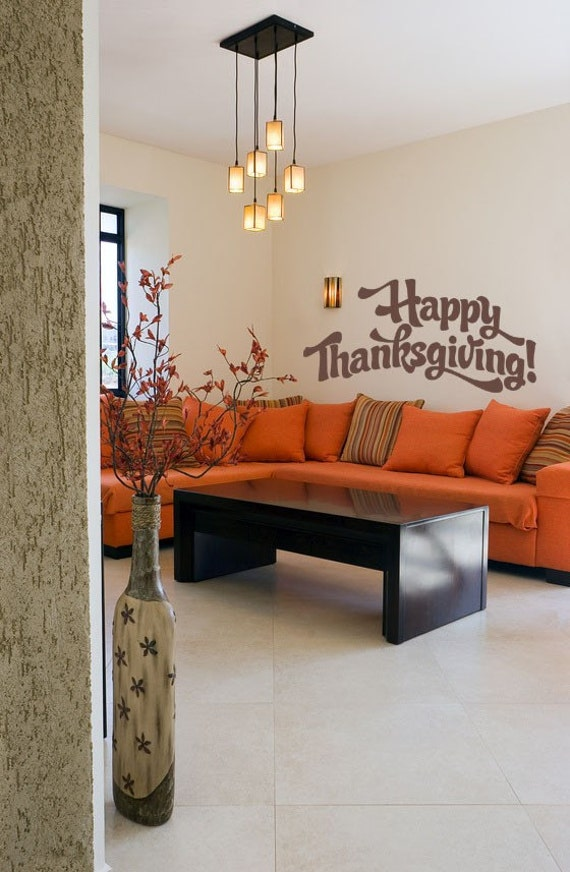 thanksgiving decor happy thanksgiving decal holiday wall. Black Bedroom Furniture Sets. Home Design Ideas