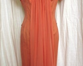 Vintage 1960's Orange Sherbet Beaded Chiffon Dress with Fabulous Back Draping SZ 6-8