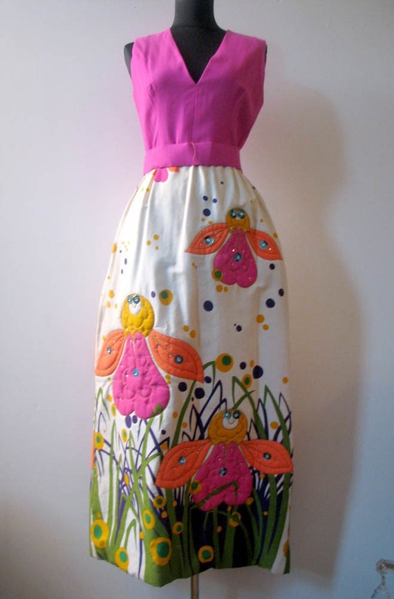 Vintage 1960s Malcolm Starr Amazing Bee Evening Gown Dress