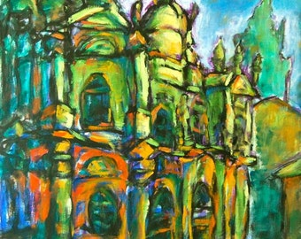 Destined -Camino Art Print, Santiago de Compostela Cathedral, Spain Painting, Christian Church Art, Catholic, Way of St James, Cezanne style