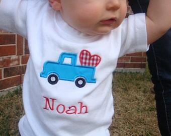 Boys Valentine Shirt - Toddler Boy Valentine Shirt - Boys Valentine Truck Shirt