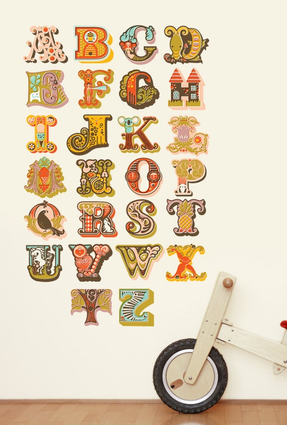 Alphabet wall decals not vinyl large by jeanie nelson for Alphabet wall mural