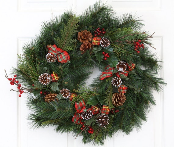 """Sleigh Bells 24"""" Multi-Colored Battery Operated Lights Cordless Holiday Wreath"""