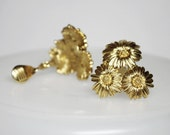 MONET Goldtone Flower Clip Earrings