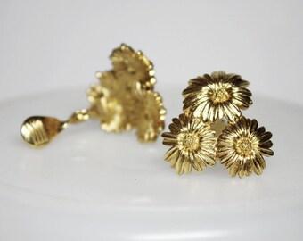 MONET Goldtone Flower Clip Earrings