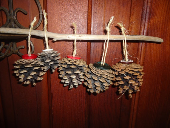 Vintage Button Wall Decor : Vintage button topped pine cone wall decor holiday wedding
