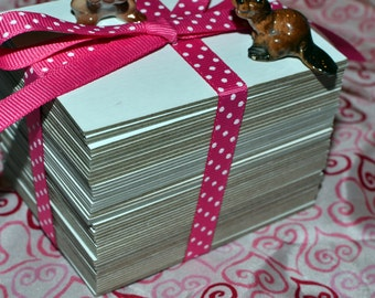 ATC / ACEO Blanks, 50 Count of White Chipboard, Sturdy Assemblage Cards