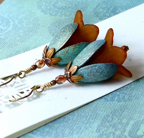 Rustic Copper Flower Turquoise Verdigris Leaf Lucite Lily Flower Earrings Early Autumn Fall Indian Summer Art Nouveau Deco Boho Shabby Chic