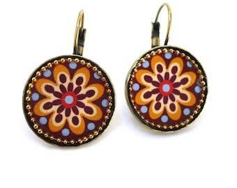 Flower Earrings - Floral Earrings - Colorful Earrings - Circle Earrings - Statement Earrings - Casual Jewelry - Small Earrings