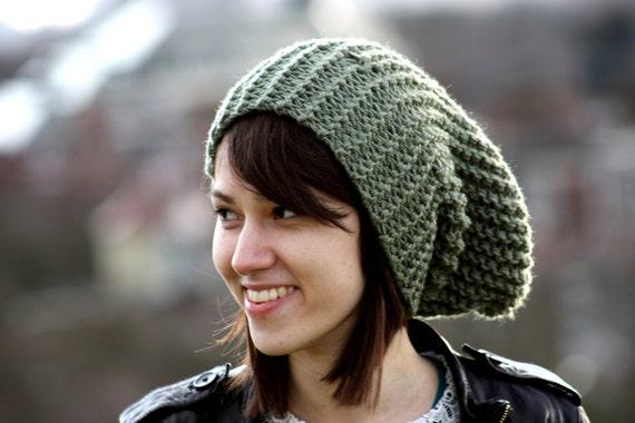 Winter Hat Slouchy Beanie Hat Women's Slouchy Beanie Mens Slouchy Beanie Hand Knit Chunky Hat Sandalwood Green