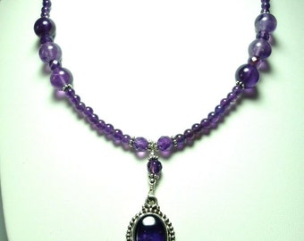Amethyst Necklace Royal Purple Amethyst Cabochon Pendant and Necklace with Sterling