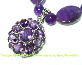 Amethyst Flower Necklace with Amethyst Faceted Gem Cluster Pendant and Amethyst Gemstone Beads in Solid Sterling Silver