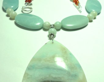 Amazonite Necklace Misty Seascape Natural Scenic Amazonite Gemstone Pendant and Necklace with Sterling