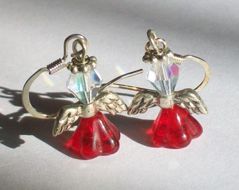 July Birthstone Angel Earrings