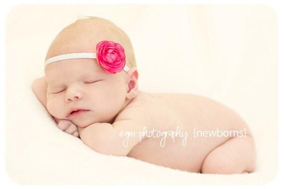 Baby Girl Pink Ranunculus Bloom Headband
