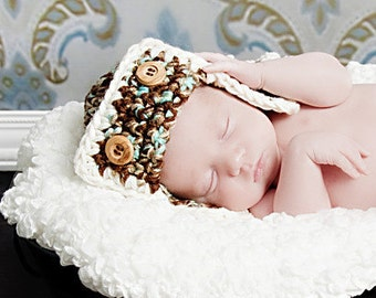 AVIATOR Bomber Flyer Hat Newborn Photo prop in Brown Teal Cream available more colors Photography Baby Shoot Infant Girl Boy all Babies
