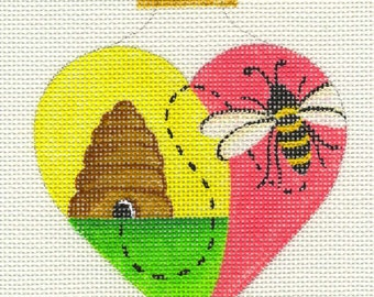 Heart with Bee and Hive Needlepoint Ornament - Jody Designs  H6