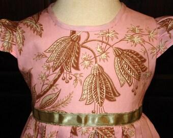 Pink/Green Floral Print Girls Dress - Size 1