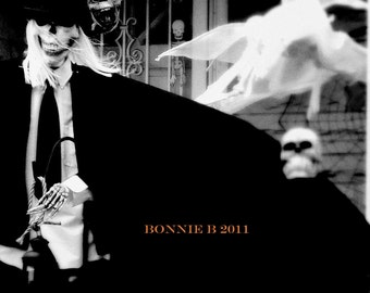 HALLOWEEN black and white decor photgraph Haunted House  6 X 9 fine art  spooky ghost skull edgar allan poe
