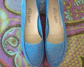Vintage Suede Loafers 1980's Blue Shoes,Summer Loafers Leather Flats