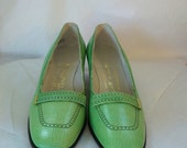 Vintage 1960's Shoes Mod Green Andrew Geller ,60s Leather Shoes,Mad Men,Mod Leather Pumps