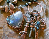 The Key to my Heart - pearl and labradorite necklace