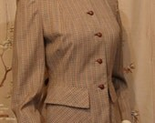 Jacket -  Sporty Fitted Plaid Circa 1940's-1950's