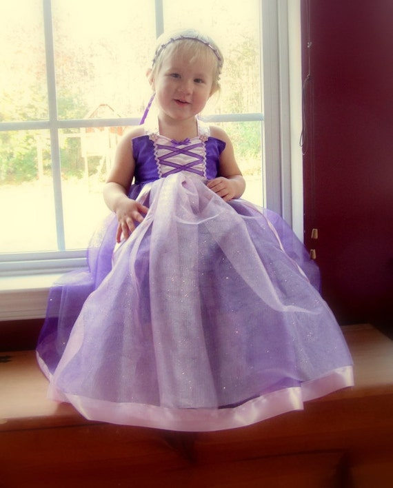 Rapunzel Costume: Purple sparkle tutu dress with pink center and straps, Princess Birthday Party, dinner, Parks Vacation, Easy on and off