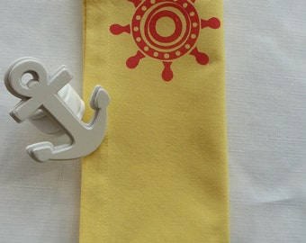 Yellow and Red Nautical Napkins - Set of 4