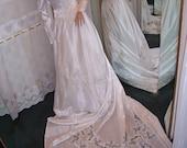 Vintage White Satin Wedding Gown