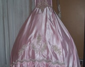 San Martin Pink Satin Vintage Wedding Gown