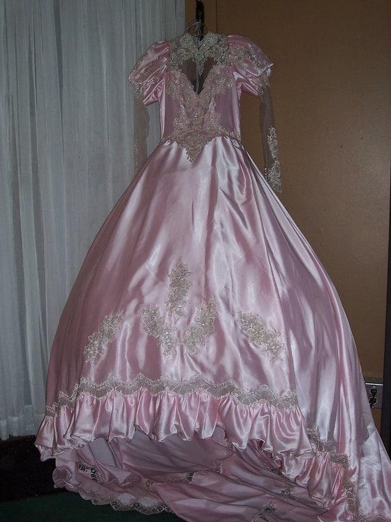 Items similar to san martin pink satin vintage wedding for Vintage wedding dresses san diego